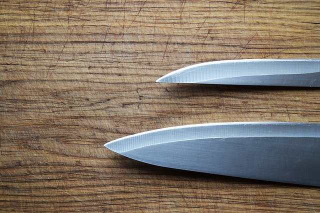 A knife on a cutting board